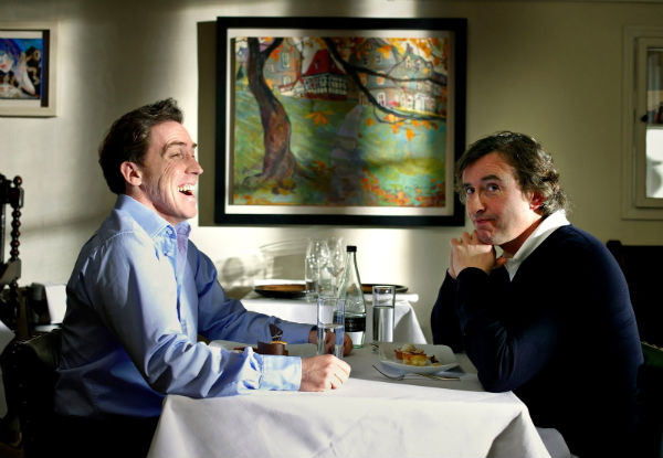 Rob Brydon and Steve Coogan enjoy dinner in 'The Trip.'