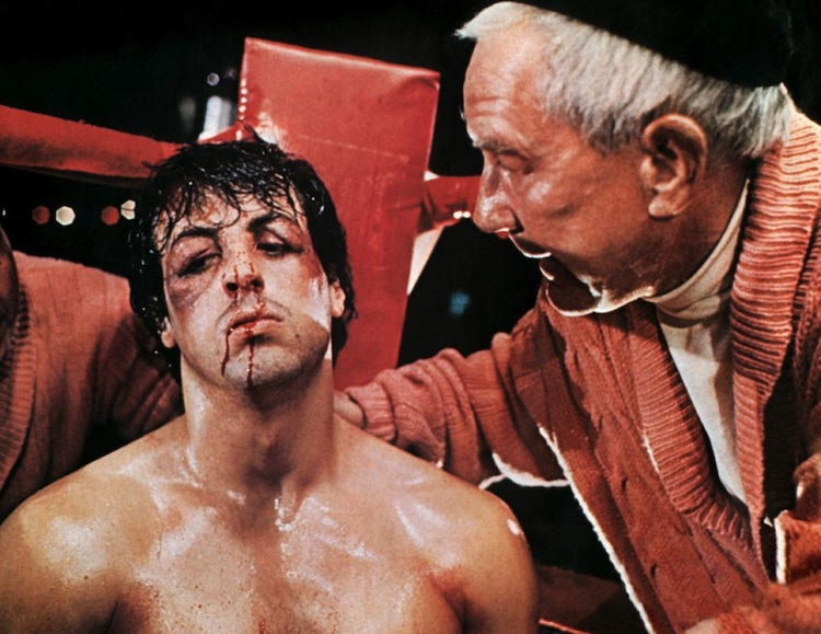 Sylvester Stallone and Burgess Meredith in 'Rocky'