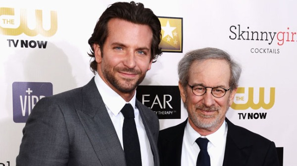Actor Bradley Cooper and director Steven Spielberg attend the 18th Annual Critics' Choice Movie Awards held at Barker Hangar on January 10, 2013 in Santa Monica, California.  (Photo by Larry Busacca/Getty Images for BFCA)