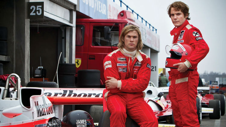 Chris Hemsworth and Daniel Bruhl in Ron Howard's 'Rush' (Universal)
